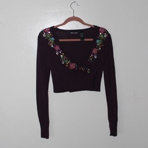 DKNY vintage wrap sweater embroidered